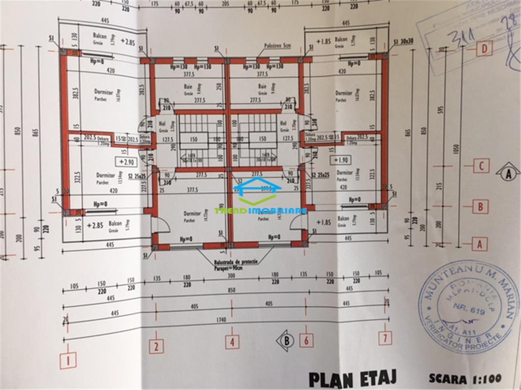 Duplex cu 135 mp utili + 350 mp curte  zona superba  Borhanci