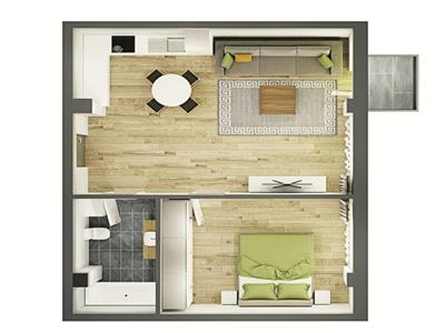 Apartament cu 2 camere - Plopilor - bloc nou cu CF