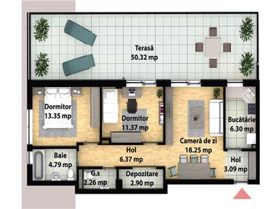 Apartament cu 3 camere + terasa 50mp - zona Subcetate - parc poligon
