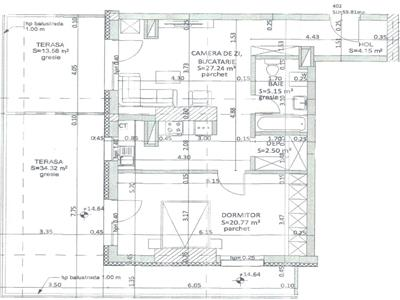 Apartament cu 2 camere - 60mp + terasa 48mp - Grigorescu - Taietura Turcului
