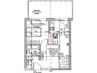 Apartament cu 1 camera - 45mp + 19mp terasa - Grigorescu - Taietura Turcului