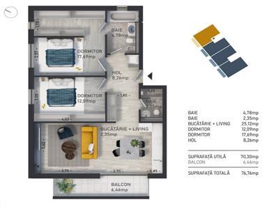Apartament 3 camere, bloc nou 77mp, Zona Baciu